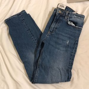 Zara straight legged ripped mom jeans